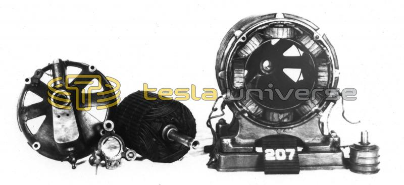 Disassembled Tesla AC induction motor