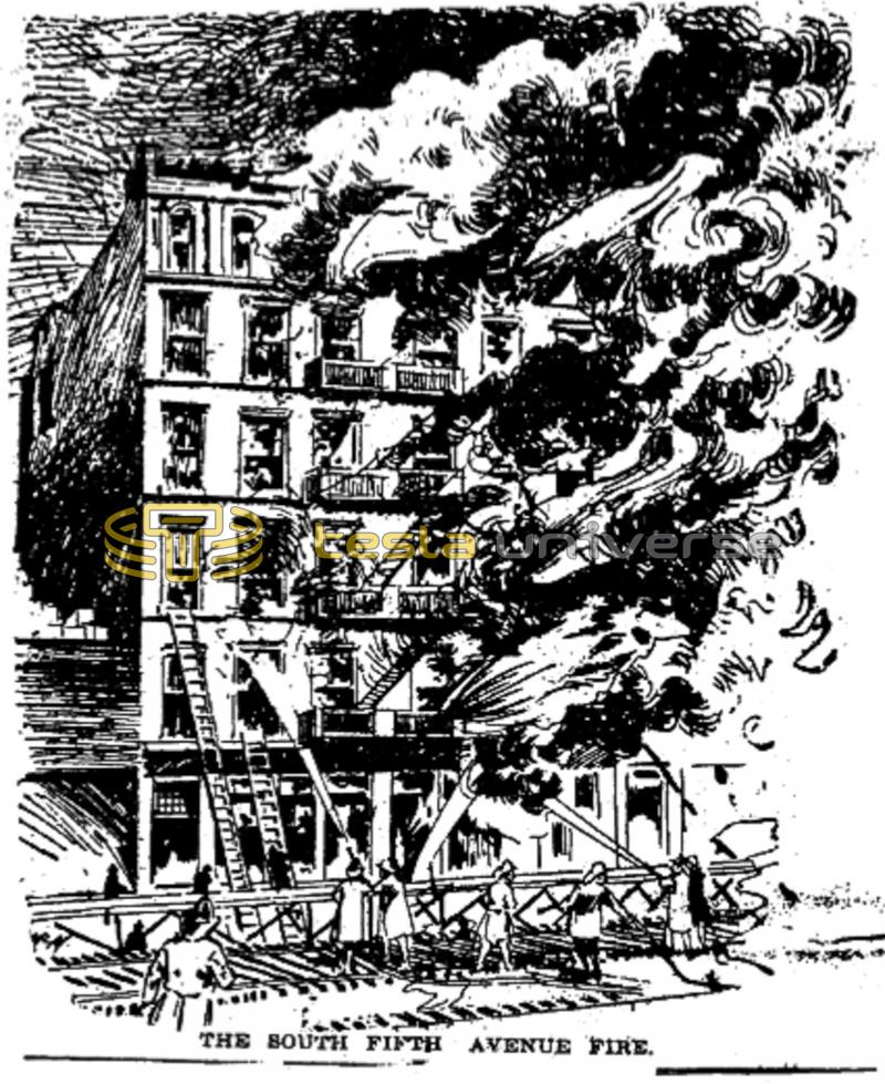 The fire of Tesla's New York laboratory at South 5th Ave.