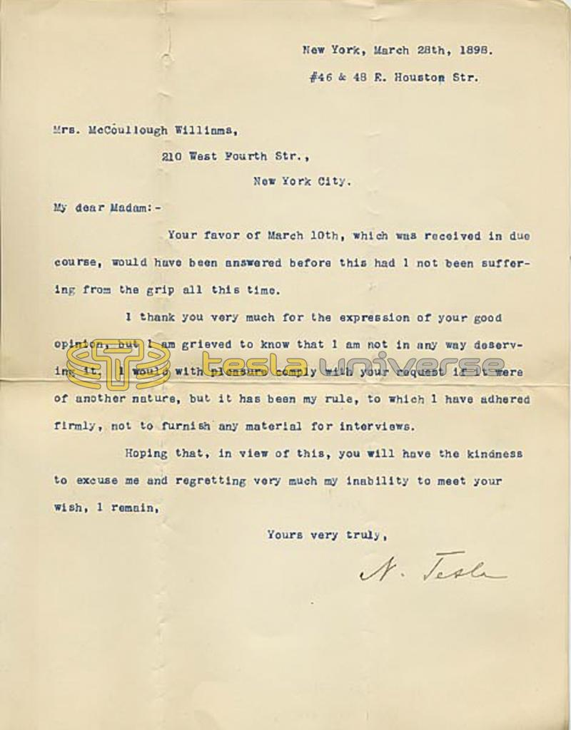 March 28, 1898 letter from Nikola Tesla to McCoullough Williams