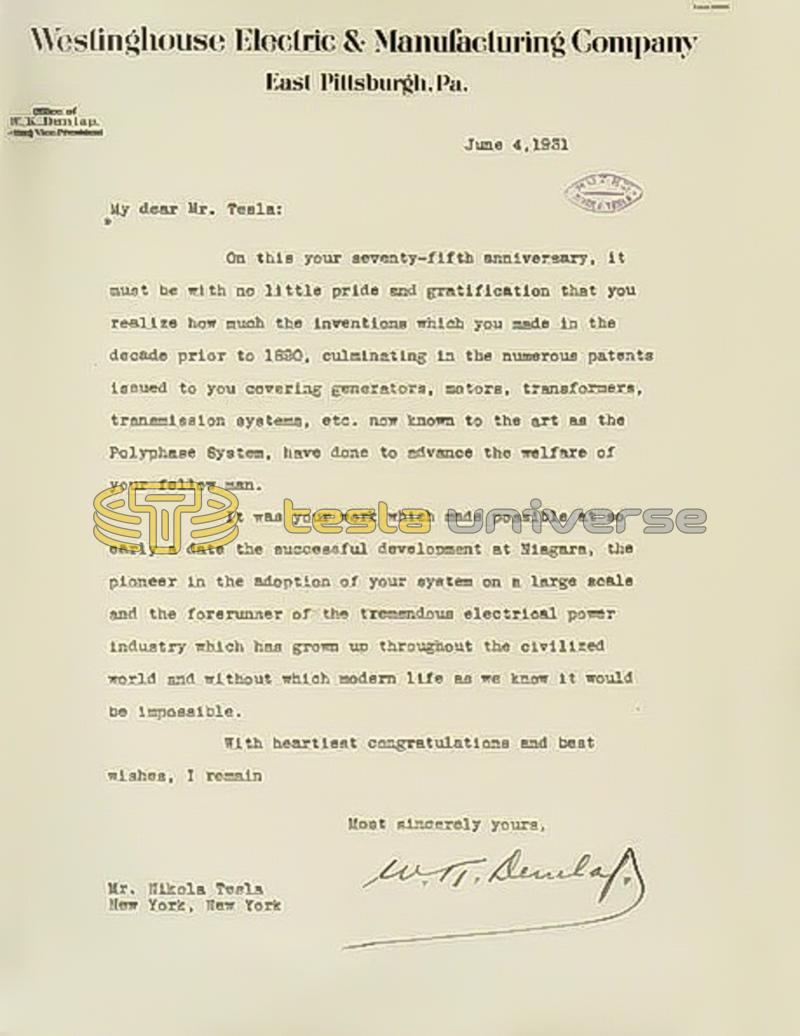 June 4th, 1931 letter from W.K. Dunlap to Nikola Tesla