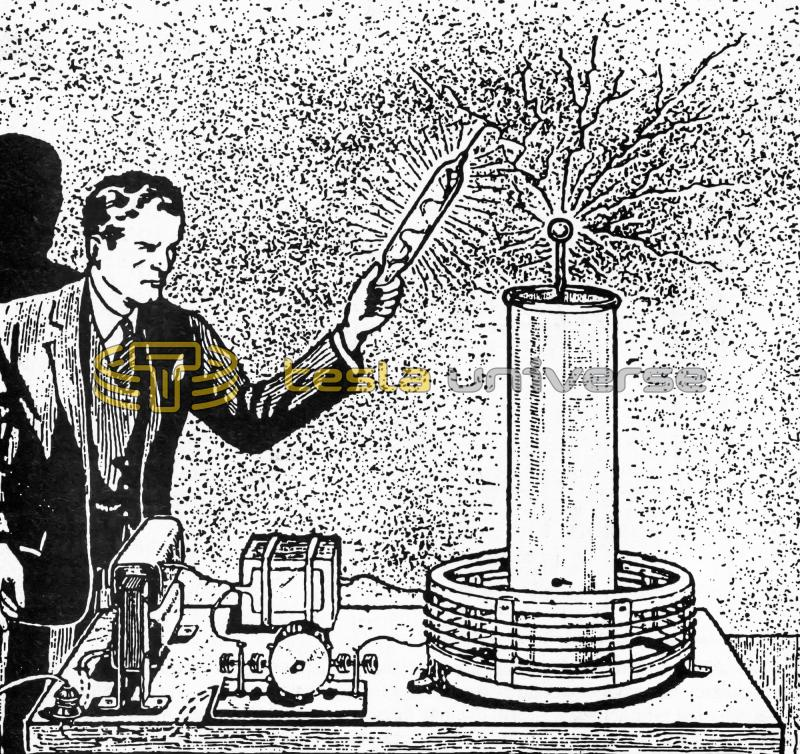 Sketch of running Tesla coil with operator accepting discharges
