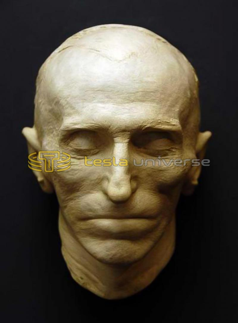 The Tesla death mask displayed in the Nikola Tesla Museum, Belgrade, Serbia
