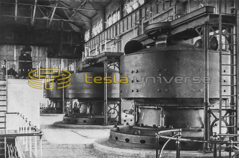 Niagara Falls power house interior showing Tesla Westinghouse alternators