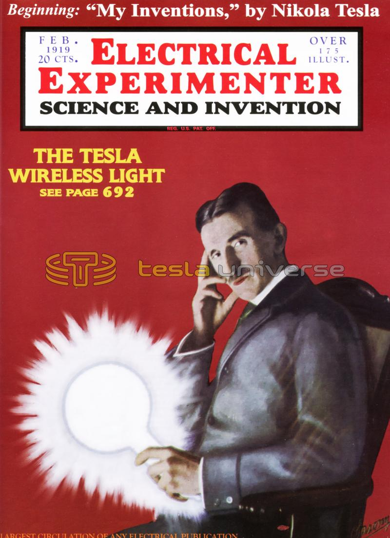 Nikola Tesla cover of Electrical Experimenter magazine