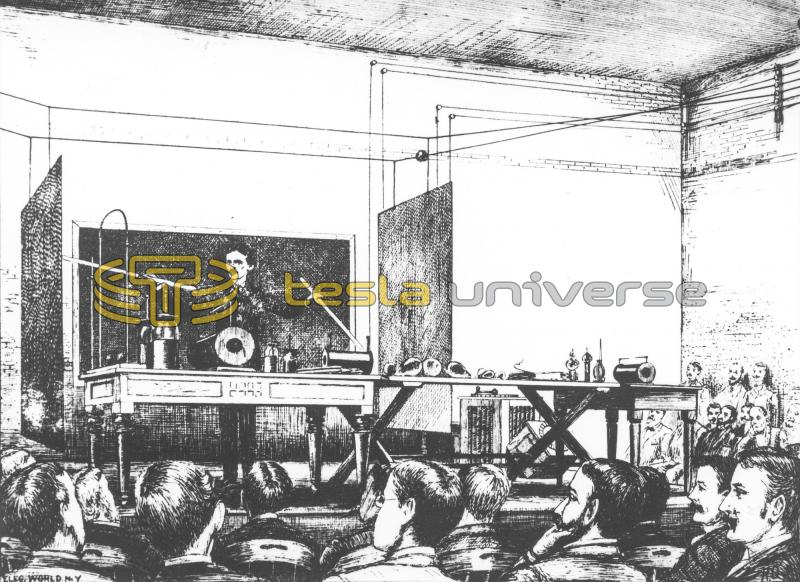 Illustration of Tesla giving his lecture before the AIEE