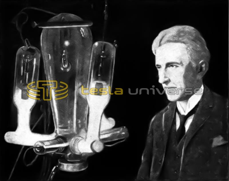Nikola Tesla in his laboratory with late type mercury arc rectifier tubes