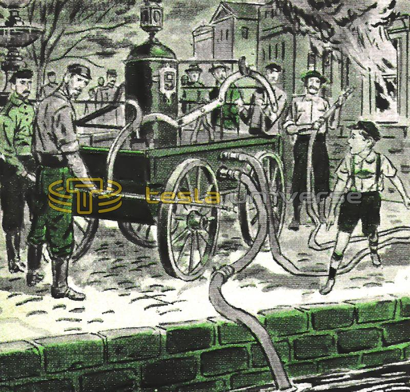 Illustration of heroic Nikola Tesla repairing fire hose clog as a child