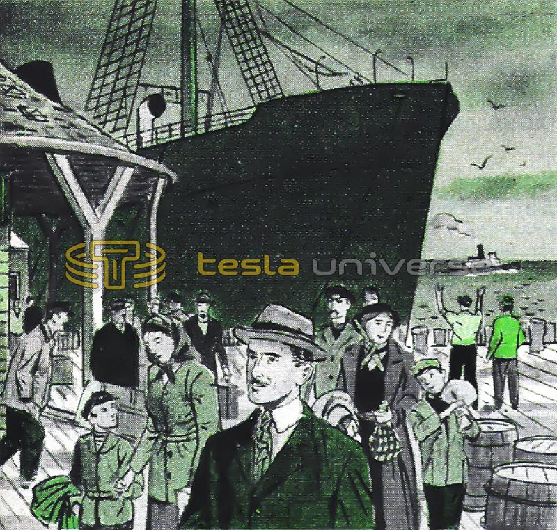 Illustration of Nikola Tesla arriving as an immigrant in New York City