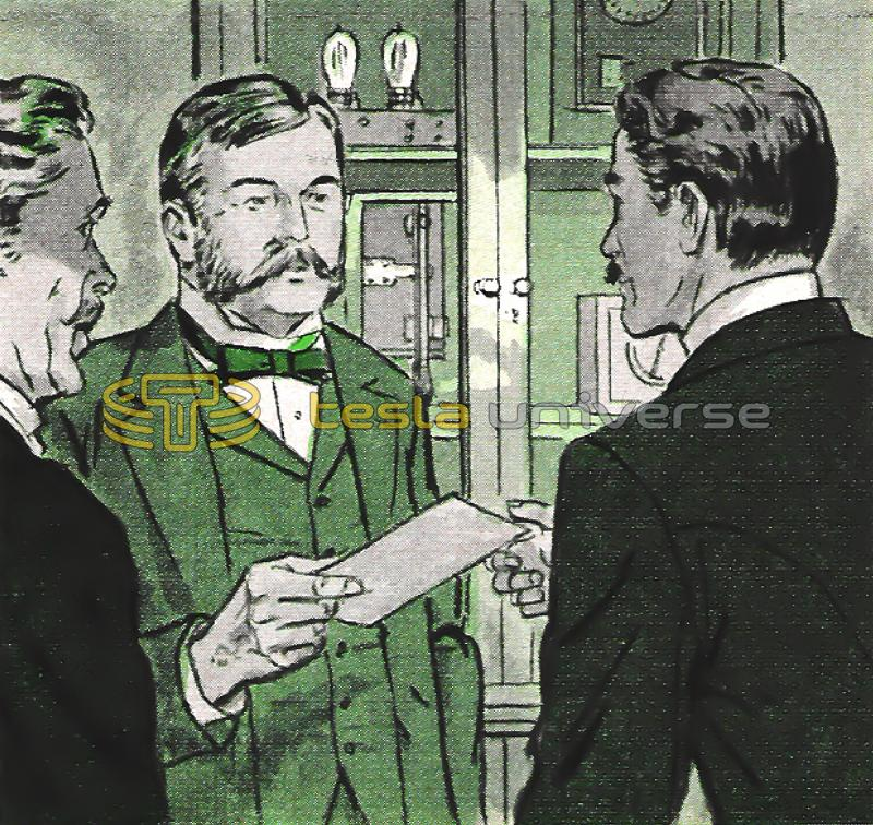 Illustration of Nikola Tesla's meeting with George Westinghouse
