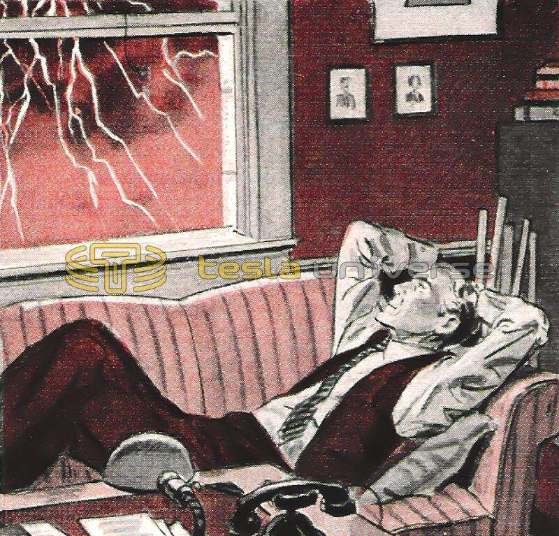 Nikola Tesla observing mother nature's spectacle of lightning