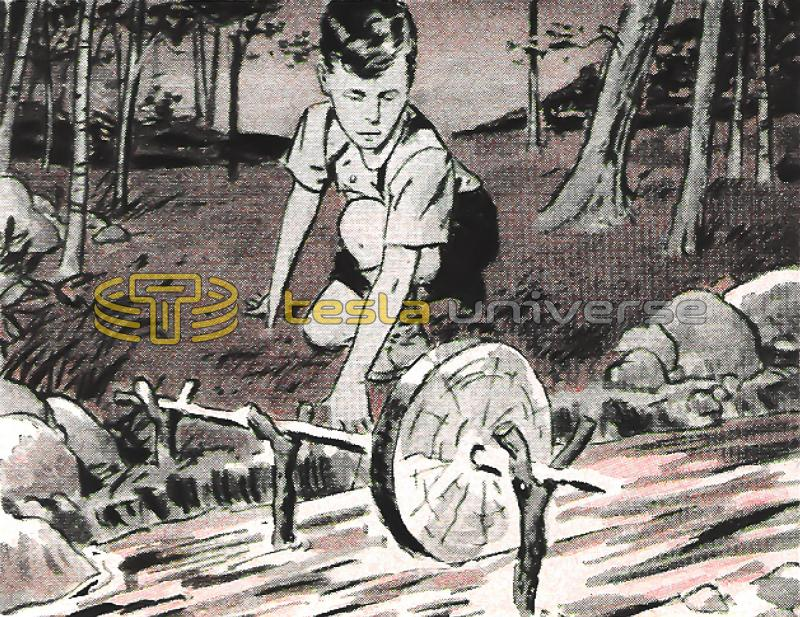 Illustration of Nikola Tesla as a child playing in the stream near his birthplace