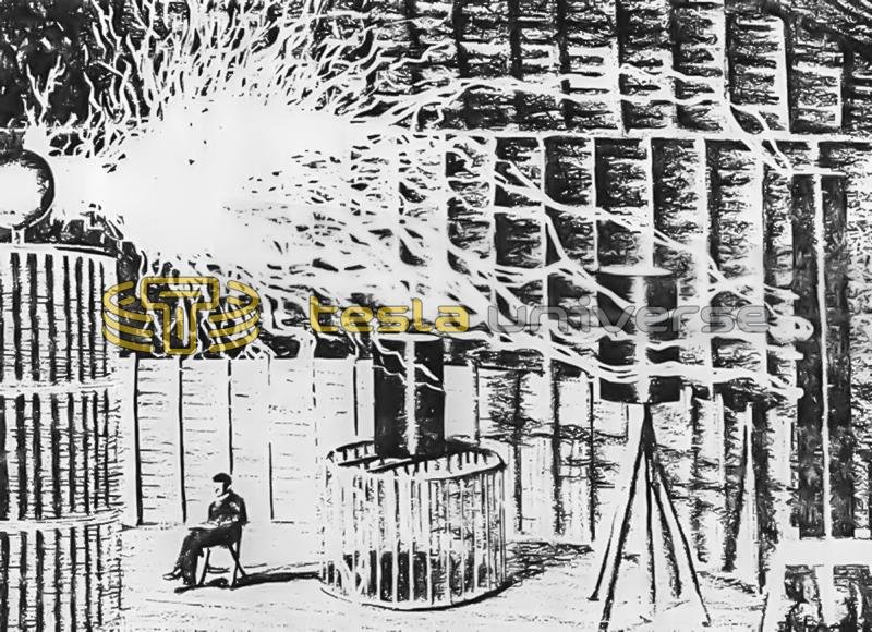 Nikola Tesla relaxes below a flamelike electric discharge from a tuned helix