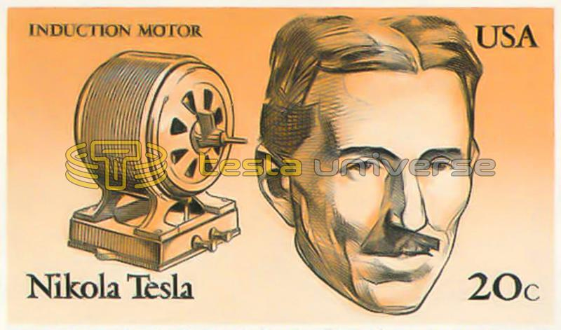 Tesla and his induction motor on the 1983 U.S. postage stamp
