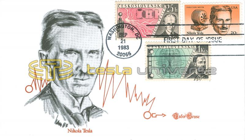 The Tesla stamp cover with additional Czech Tesla stamp