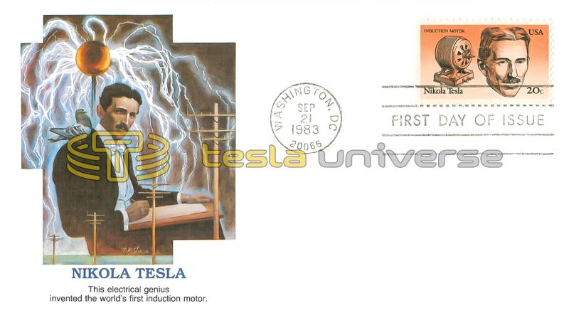 The Tesla stamp on the cover designed by D.K. Stone