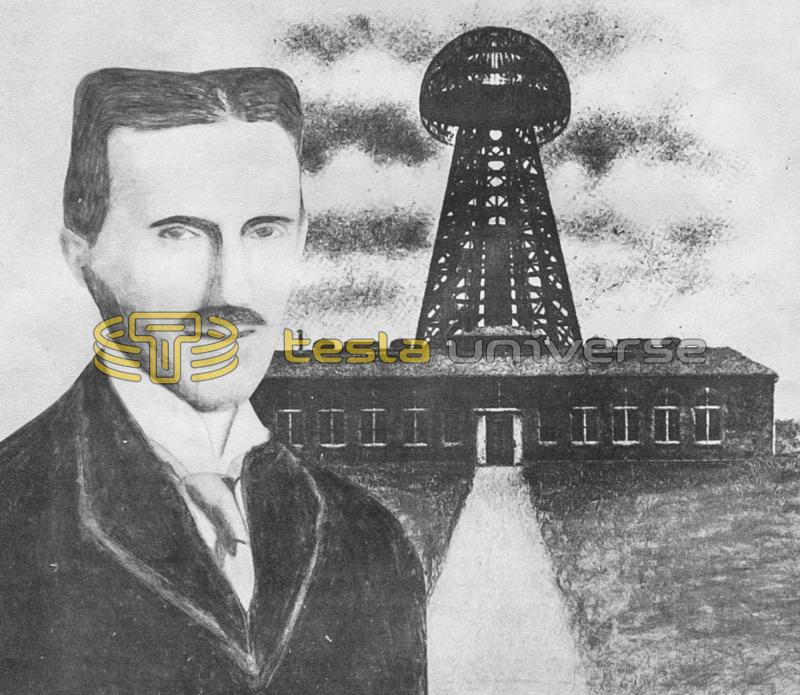 Dr. Nikola Tesla with his Wardenclyffe tower on Long Island, New York