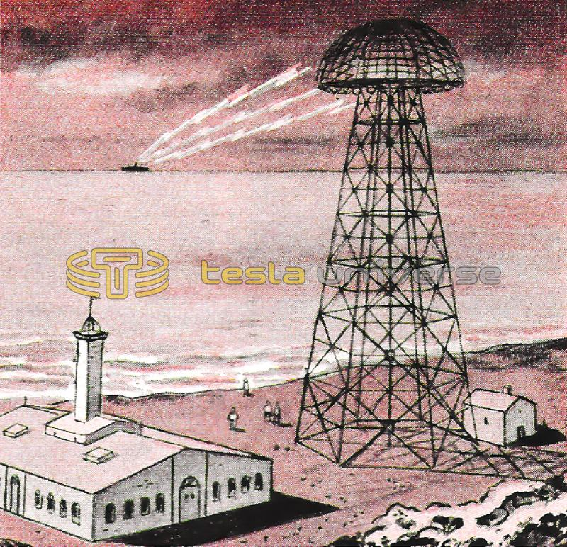 Illustration of Tesla's Wardenclyffe tower transmitting power to a ship