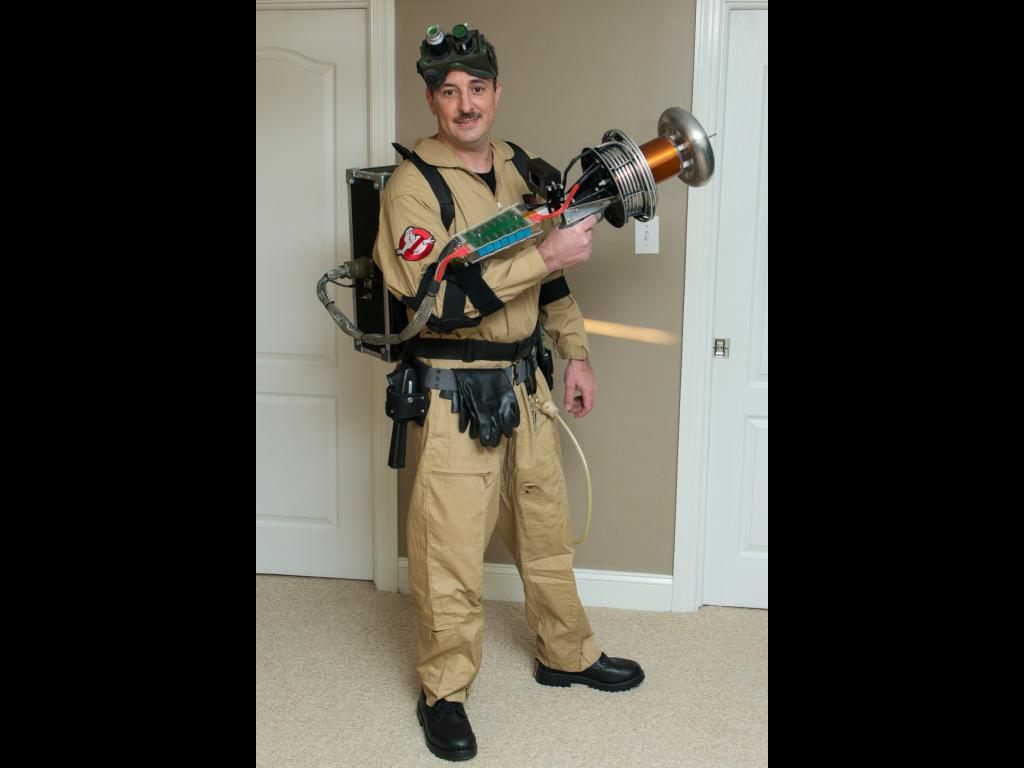 Cameron Prince in Ghostbuster costume with the Tesla gun
