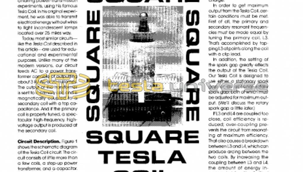 The Square Tesla Coil | Tesla Universe