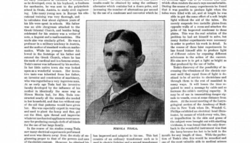Preview of Nikola Tesla article