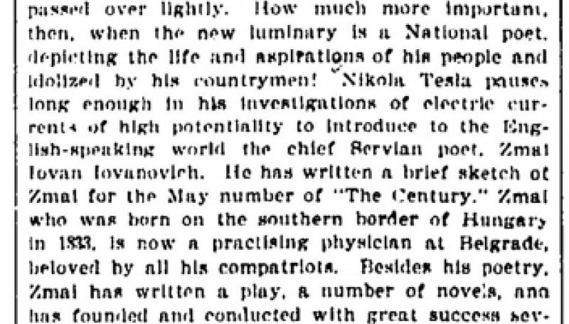 Preview of Nikola Tesla Introduces the Servian Chief Poet  article
