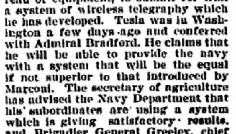 Preview of Nikola Tesla Invited to Submit His Wireless Telegraphy System to U.S. Navy article