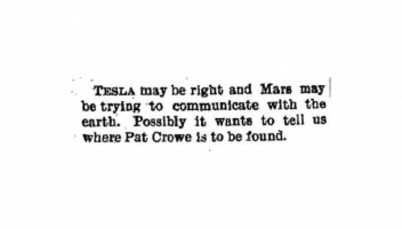 Preview of Mars may tell Tesla where Pat Crowe is article
