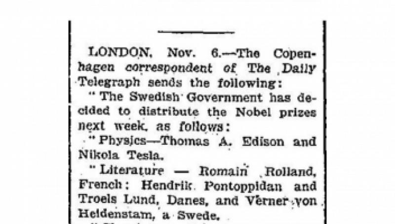 Preview of Edison and Tesla To Get Nobel Prizes article