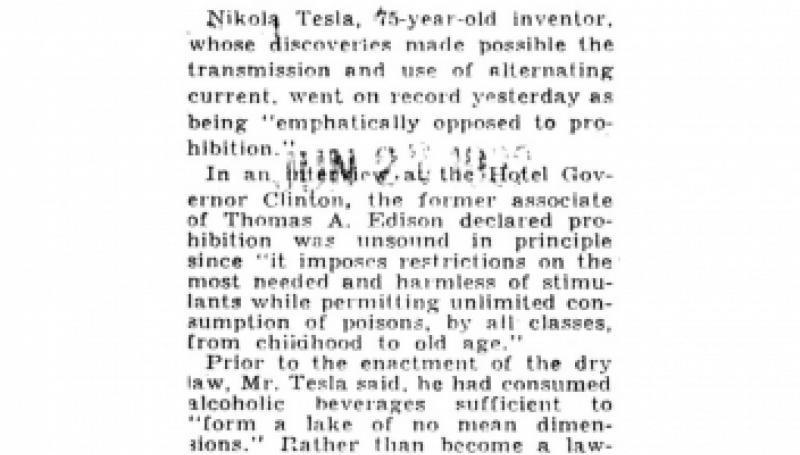 Preview of Tesla, Inventor, 75, Attacks Dry Law article