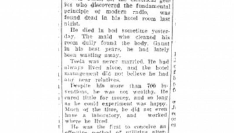Preview of Tesla, Electrical Genius, Dead article