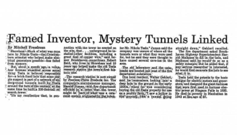 Preview of Famed Inventor, Mystery Tunnels Linked article