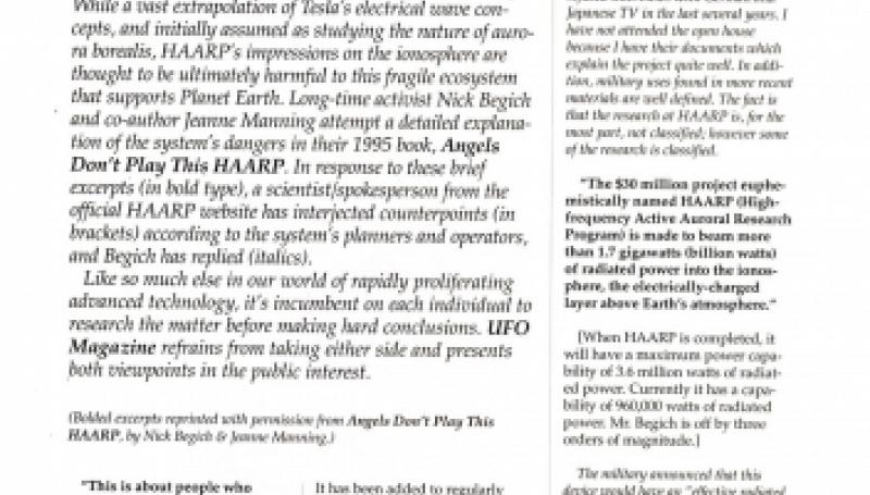 Preview of HAARPing It Both Ways: Radio Wave Experiments on Trial article