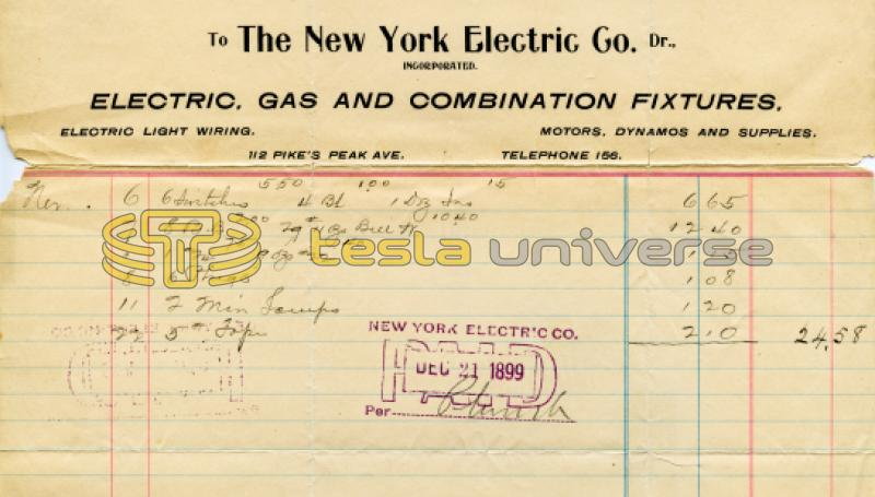 Nikola Tesla receipt from Colorado Springs