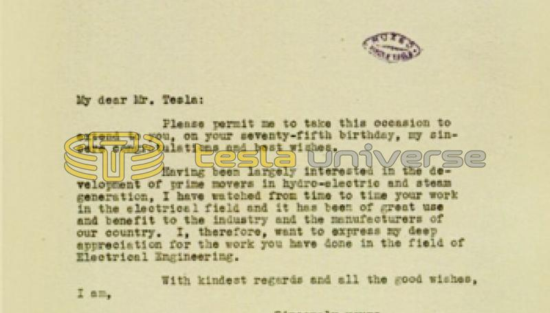 June 11, 1931 letter from William S. Lee to Nikola Tesla
