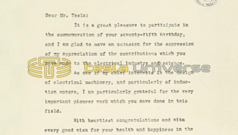 June 8th, 1931 letter from Comfort A. Adams to Nikola Tesla