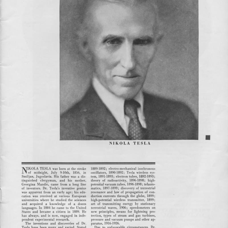 Scientific American article featuring Tesla's photograph