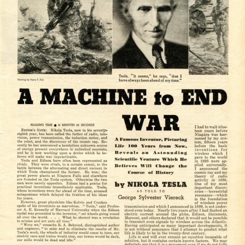 "Tesla's ""A Machine to End War"" article"