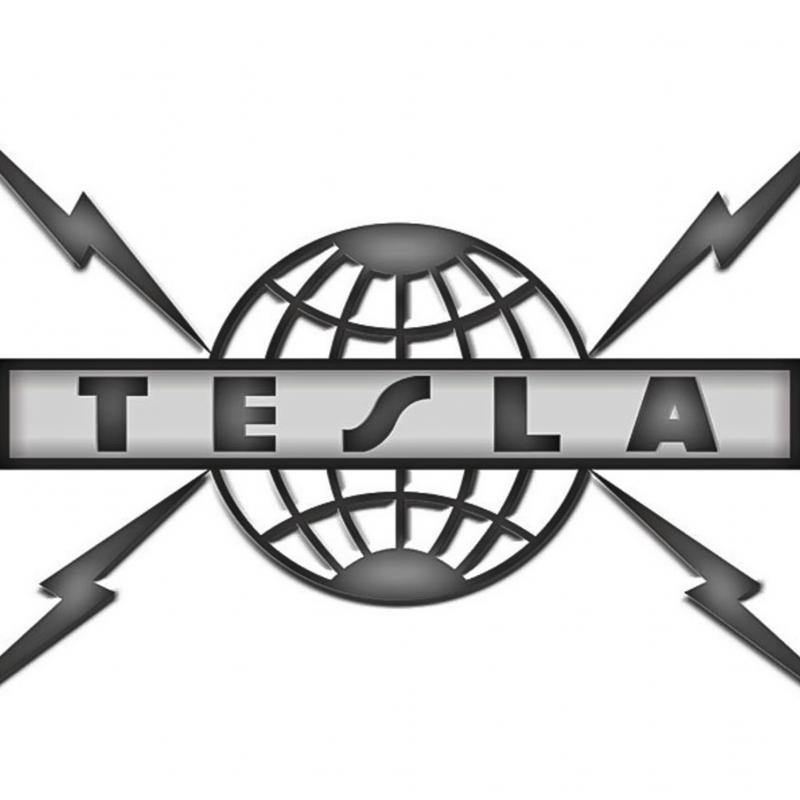 The logo of the American band named after Tesla
