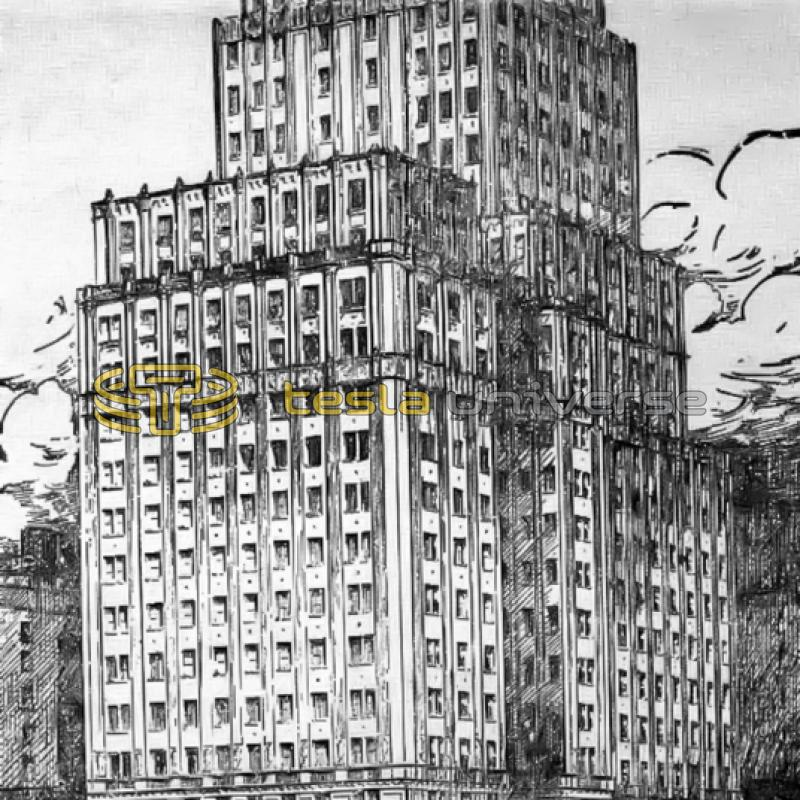 A rendering of the building at 350 Madison Ave. (Borden Building) where Tesla once had an office.