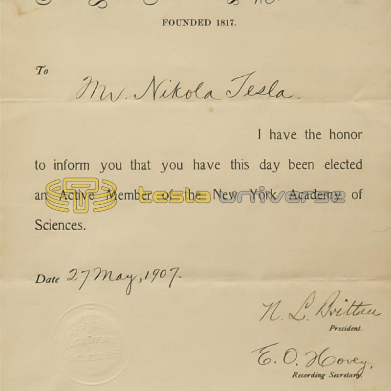 Tesla's certificate of membership for the New York Academy of Sciences