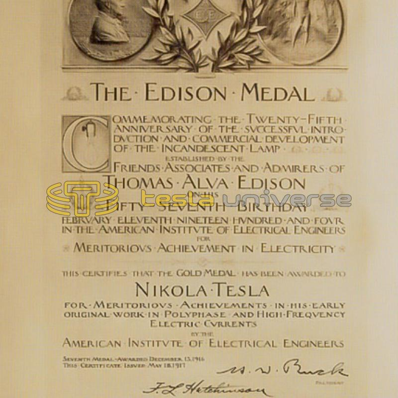 The certificate of the Edison medal awarded to Nikola Tesla in 1917