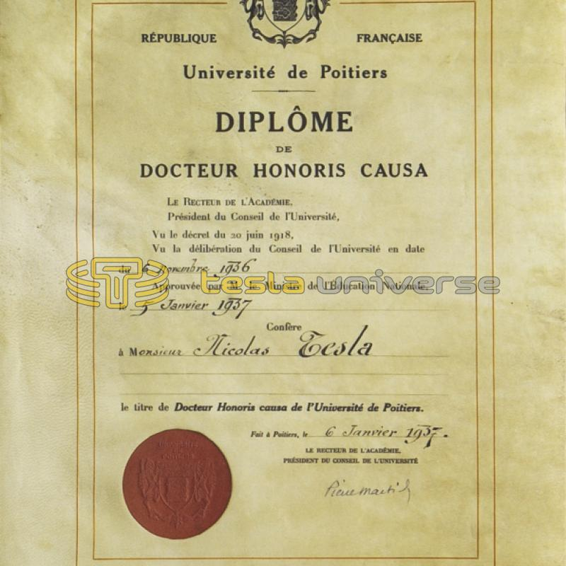Certificate of honorary doctorate awarded to Tesla from the University of Poitiers
