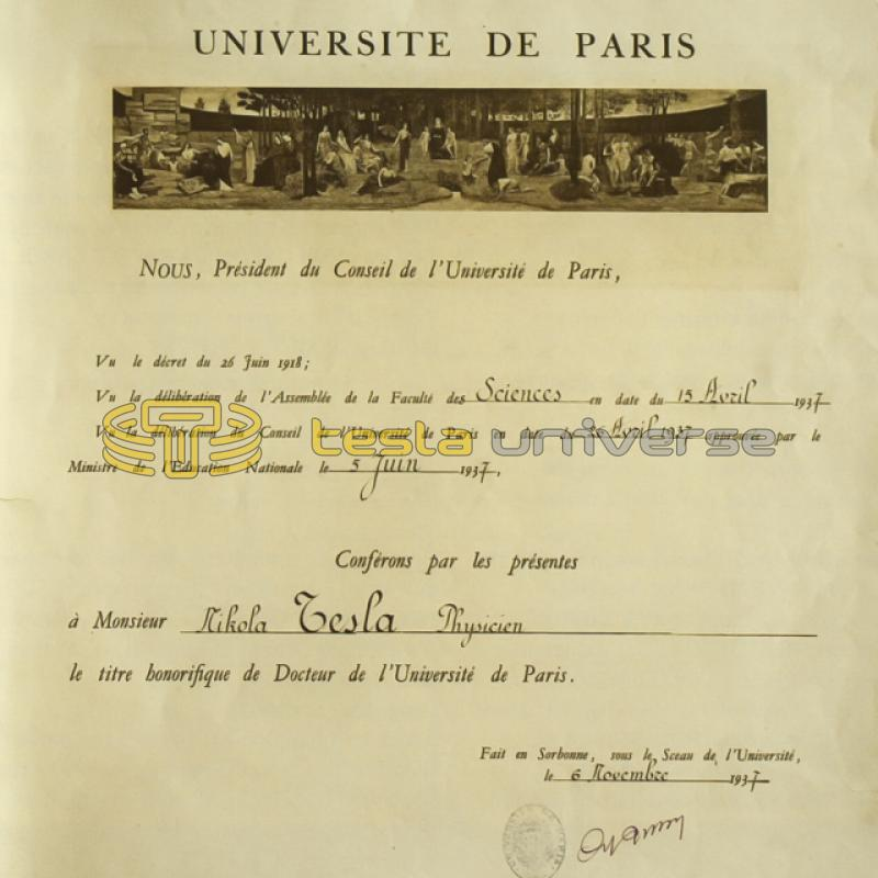 Certificate of Dr. Honoris Causa awarded to Tesla from the University of Paris