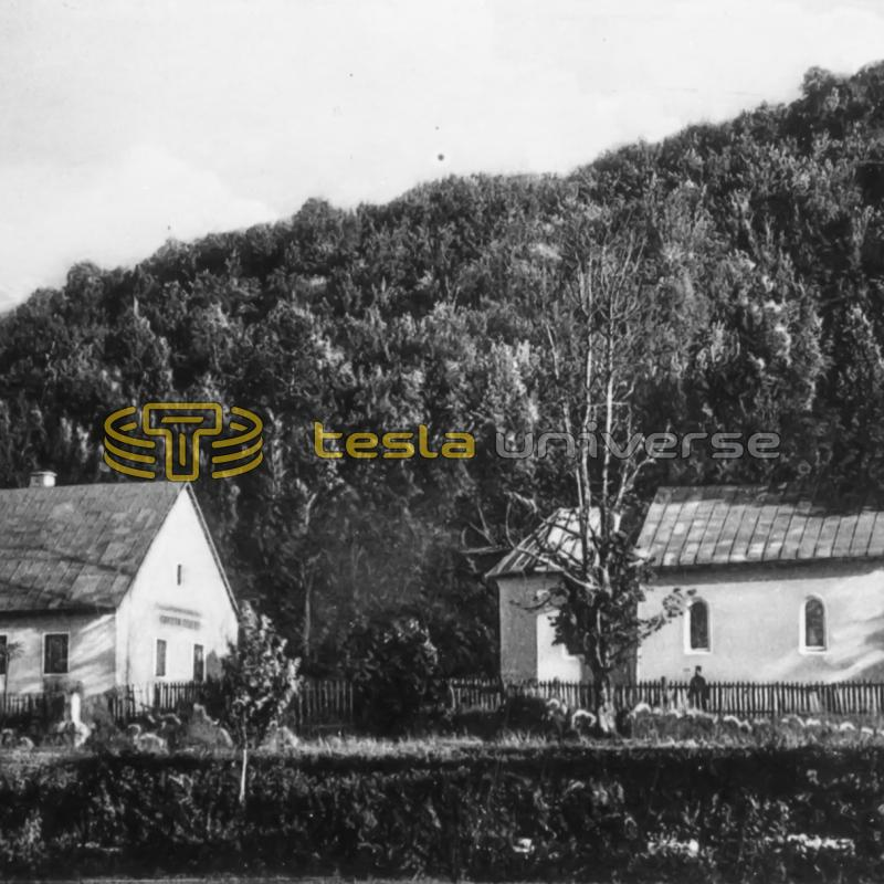 Oldest known photo (1933) of Tesla's birthplace in Smiljan, Croatia