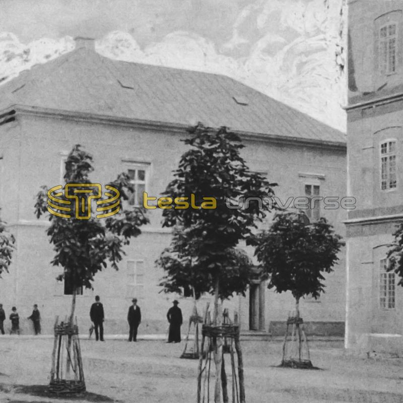 "Tesla's home and the ""Real Gymnasium"" (far right) in Gospić"