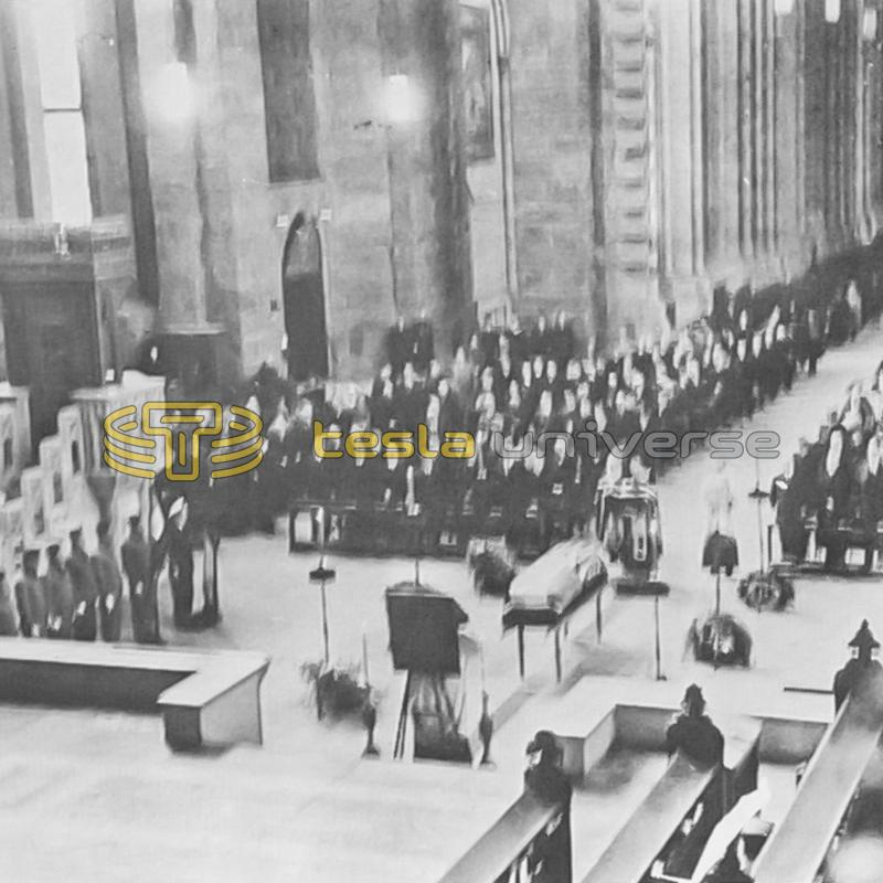 A wide view of Tesla's funeral service