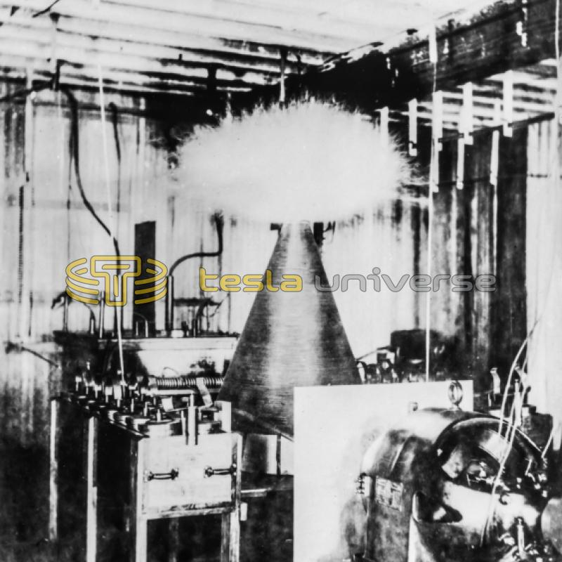 The earliest known photo of a Tesla coil in Tesla's 5th Ave. New York lab