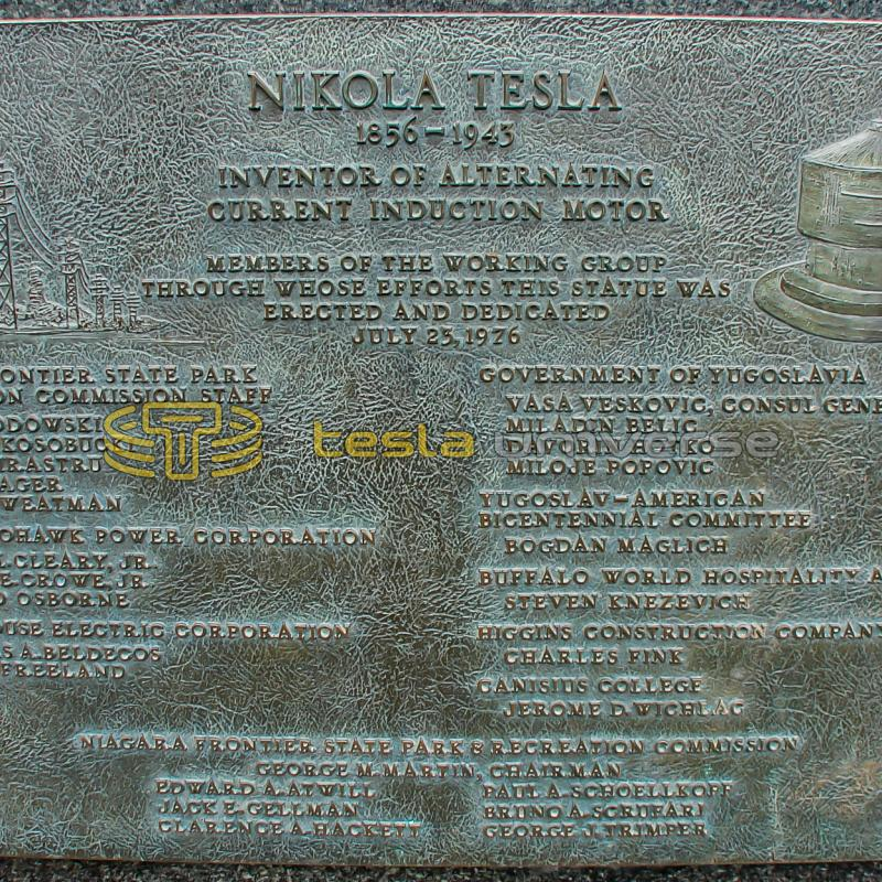 The plaque on the base of the Tesla monument on Goat Island