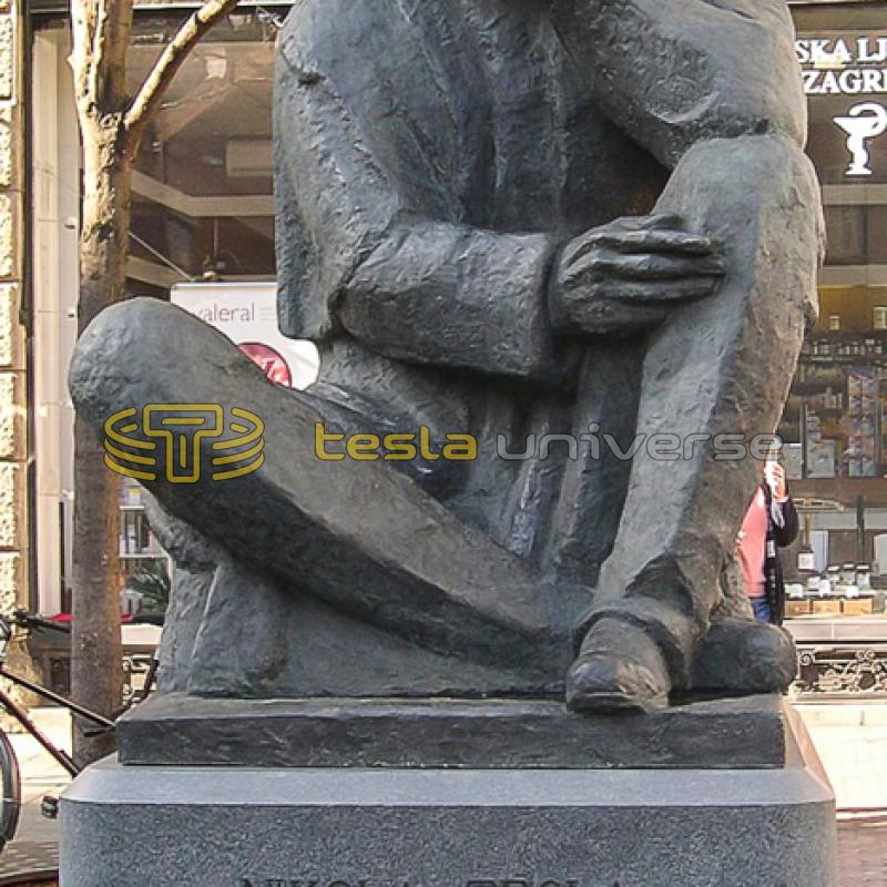 The Tesla monument at its new home on Nikola Tesla St. in Zagreb, Croatia