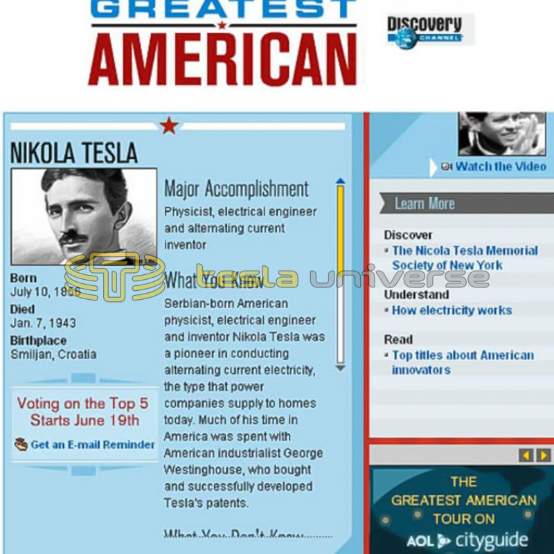"Discovery Channel's ""The Greatest American"" show ranked Tesla #97"